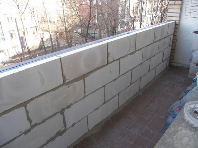 фото кладки балкона из газобетона