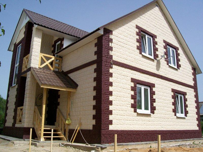 Отделка фасадов домов из газобетона фото