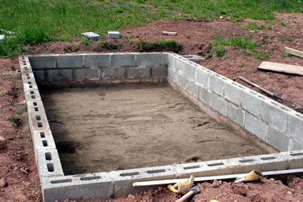Ленточный фундамент для стен из шлакоблоков