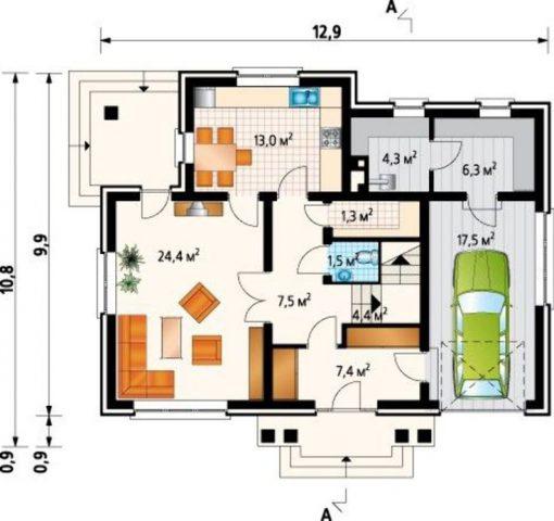 Проекты домов из пеноблоков 10х10 с гаражом